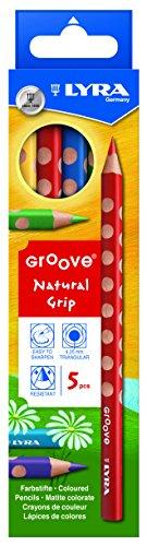 LYRA Groove Child-Grip Pencils, 4.25 Millimeter Lead Core, Set of 5 Pencils, Assorted Colors (3811050)