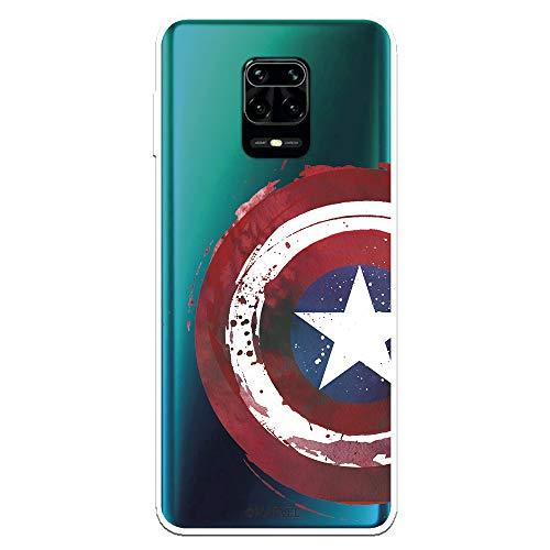 Funda para Xiaomi Redmi Note 9S - Note 9 Pro Oficial de Marvel Capitán América Escudo Transparente para Proteger tu móvil. Carcasa para Xiaomi de Silicona Flexible con Licencia Oficial de Marvel.