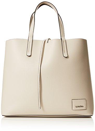 Calvin Klein Damen Ck Reversible Shopper Tote, Weiß (Cement/Light Gold), 14x35x42 cm