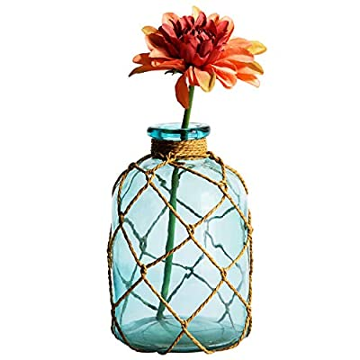Diamond Star Rustic Glass Bottle Vase Decorative Blue Flower Vase with Creative Rope Net (Small)