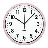 ANSIO Reloj de Pared, Reloj de Pared Redondo con Marco Rosa, Fondo Blanco y números Negros, Ideal para el hogar, la Cocina y la Oficina.