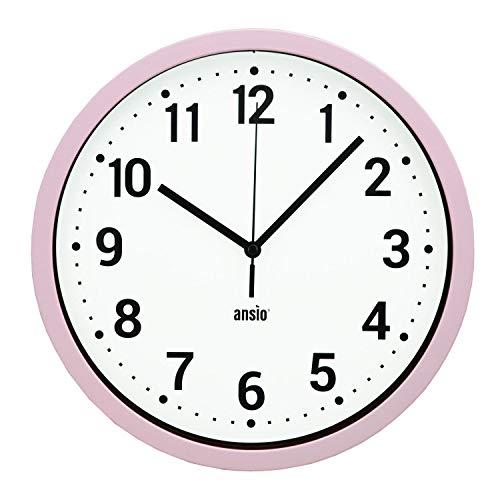 ANSIO Wanduhren 25,4 cm groß modern ohne Ticking-Effekte, Wanduhr für Wohnzimmer, Küchenuhr, Badezimmeruhr, Bürouhr - Rosa Rahmen, Weißer Hintergrund