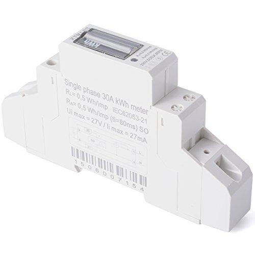XCSOURCE Medidor Energía CA 230V 5(30) A (SO) Contador Guía KWH DIN BI041