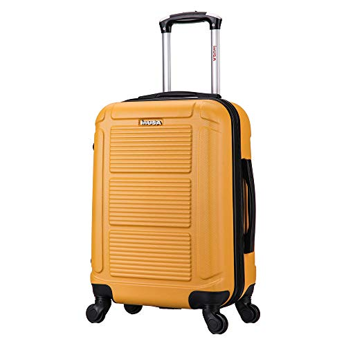 InUSA Pilot 20 Inch Hardside Carry-On Spinner Luggage with Ergonomic Handles, Travel Suitcase with Four Spinner Wheels and Studs, Mustard