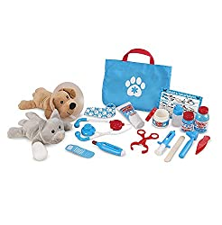 COMPLETE VET SET WITH PETS: The Melissa and Doug Examine and Treat Pet Vet Play Set is a 24-piece set with a plush dogand cat, pretend play vet medical equipment,and a tote bag for easy storage. MAKE HOUSE CALLS - ANYWHERE: Our vet set with animals i...