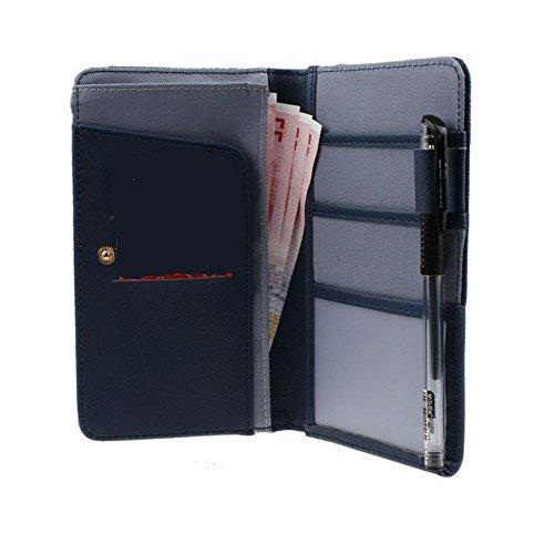 Q4 Travel Leder PU Travel Wallet, Dokumente und Pass-Halter. Wahl der Farben (Blau)