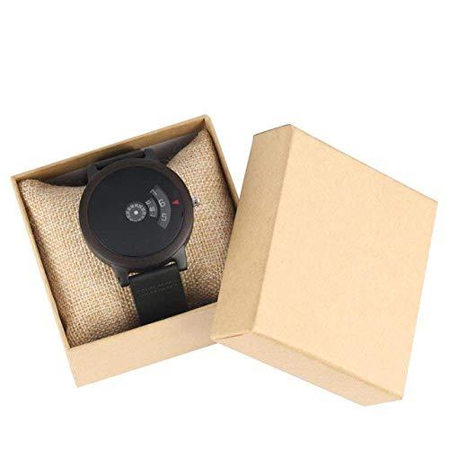 Reloj de madera minimalista con diseño de esfera en forma de abanico y diseño artístico, cuarzo rojo sándalo, correa de piel, reloj de bolsillo para hombre (color negro con caja)