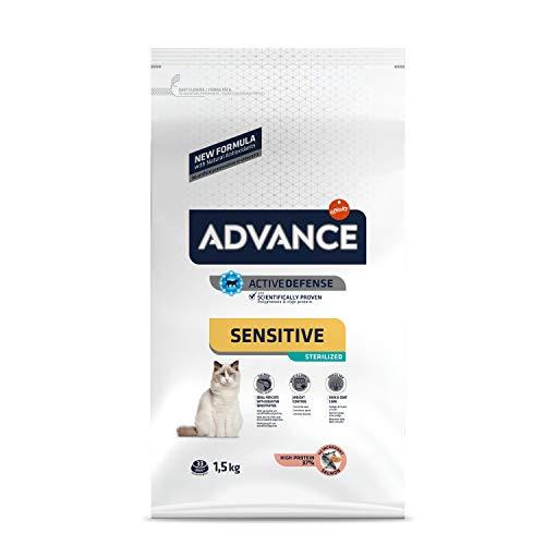 ADVANCE Sensitive Sterilized - Croquettes pour Chat Adulte avec des Sensibilités Digestives et Cutanées - Saumon et Orge - 1,5Kg