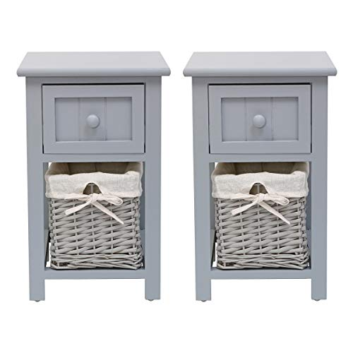 Hironpal White Bedside Table Set of 2 Shabby Chic Nightstand Storage Unit Bedroom Organizer Cabinet with Drawer Side End Table Wooden with Wicker Woven Basket (grey)