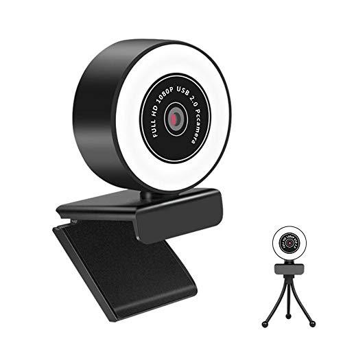 RMFC Webcam 1080P Full HD mit Mikrofon und Ringlicht, PC Web-Kamera mit automatischer Lichtkorrektur, USB Plug & Play Facecam für PC Live-Streaming, Videokonferenzen, Online Unterricht, Skype, YouTube