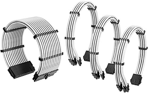 Antec Câble d'alimentation avec Gaine / 24 Broches ATX / 4 + 4 Broches EPS / 6 + 2 Broches PCI-E PSU Kit de câble d'extension 30 cm avec Peignes Blanc…