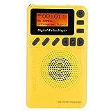 Socobeta Bolsillo portátil DAB+FM Radio Digital Amarillo con Lector MP3 Reproductor para Senderismo Tomar el Autobús Caminar o Correr