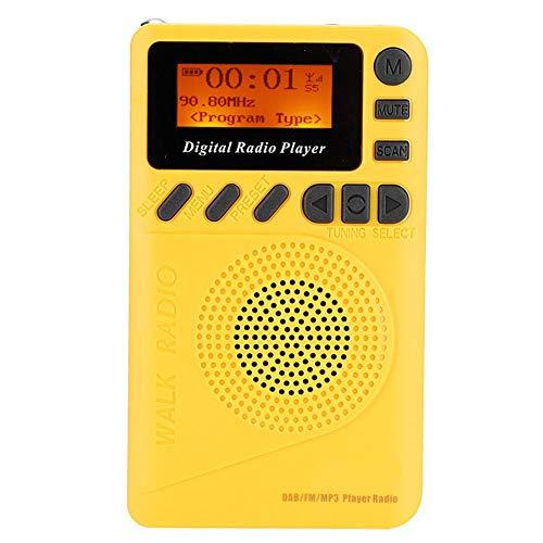 Amarillo digital con reproductor de MP3 amarillo radio digital receptor estéreo mini portátil para excursiones tomar el autobús, caminar o correr