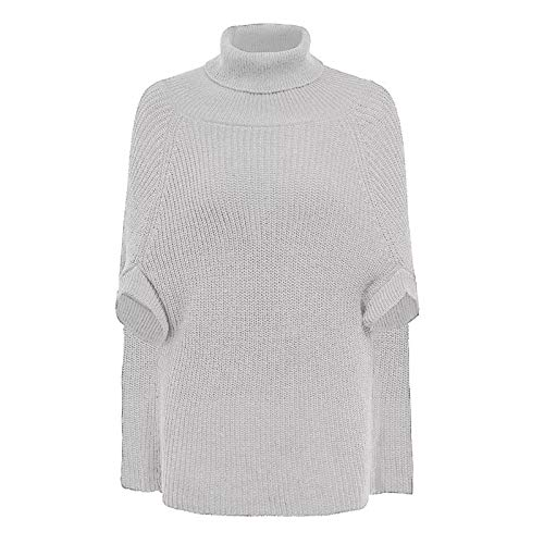 Korte mouw Vrouwen Pure-Color Knit coltrui sjaal trui. (Color : White, Size : One Size)