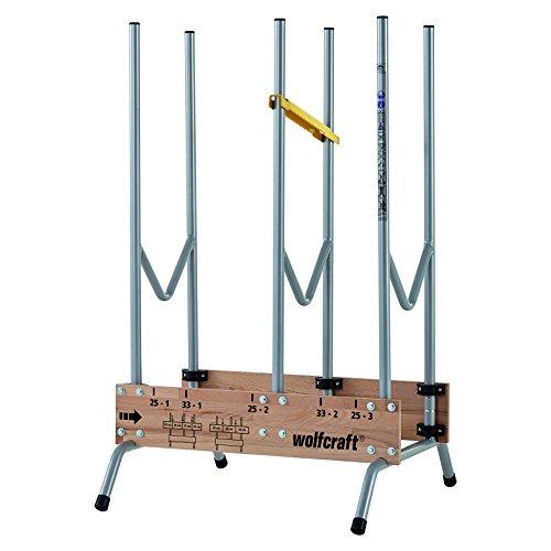Wolfcraft 1 Sägebock 5121000 - zusammenklappbar | Robuster & stabiler Holzbock zum schnellen Zuschneiden von Brennholz - inkl. Auswurfsicherung | Tragkraft: 150 kg Silber