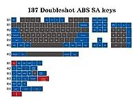 DIYキーキャップ メカニカルキーボードの場合DoubleshotキーキャップSAダブルショットABSキーキャップブルーグレー137のキー キーボードカバー (Colore : 137 keycaps)