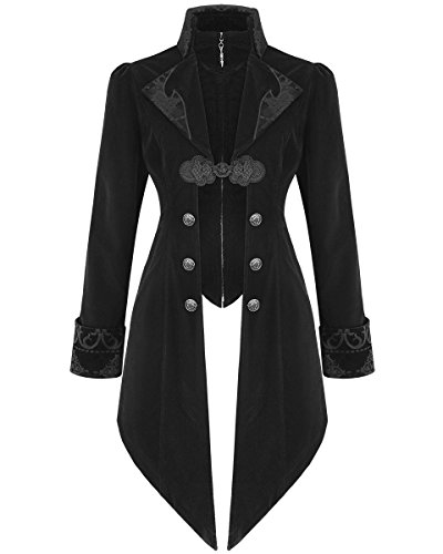 New Womens Fitted Jacket By Devil Fashion Black, 100% Velveteen Polyester Perfect Attire For Goths And Steampunks Custom Detailing Genuine Devil Fashion Merchandise