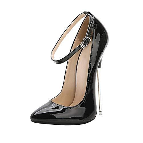 ZFAFA Damen Extrem Pumps Stiletto High Heels Hoch Absatz Riemchen Schnalle mit Pfennigabsatz Party Hochzeit Schuhe Tanzschuhe Brautschuhe, Black