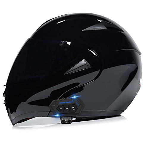 Motorcycle Bluetooth Helmets,Full Face Flip Up Dual Visors Modular Helmets,DOT/ECE Approved Helmet,Men and Women Built-in Mp3 FM Integrated Intercom Communication System 1, L=(59~60CM)