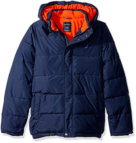 Nautica Boys' Little Water Resistant Signature Bubble Jacket with Storm Cuffs, Sport Navy, Small (4)