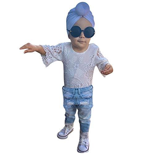 YWLINK Ropa De Bebé ReciéN Nacido para NiñA,Elegante,Floral,De Encaje Superior,Destruir Agujero, Pantalones Empalme Vaqueros De Mezclilla,Pantalones De Princesa,Primavera Y Verano,Traje