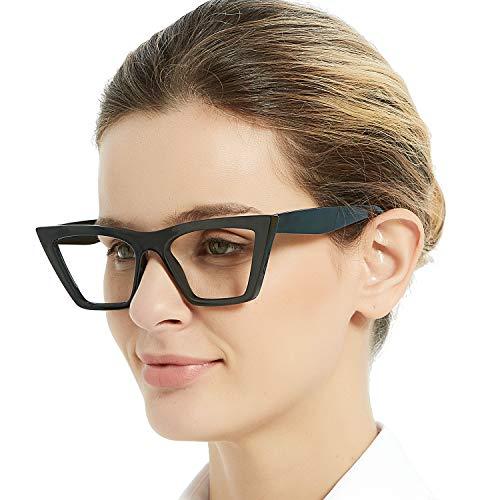 OCCI CHIARI Blaulichtfilter Lesebrille 5,0 Damen, Anti Blaulicht Computerbrille, Vintage Lesehilfe Lesebrille mit großen Gläsern (Schwarz, 5.0 Dioptrien)