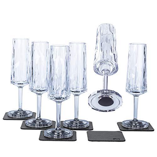 Silwy - Vasos magnéticos de plástico de alta tecnología y almohadillas metálicas de gel nano – Vasos antideslizantes para camping, barcos y yates (champán, 0,15 l)