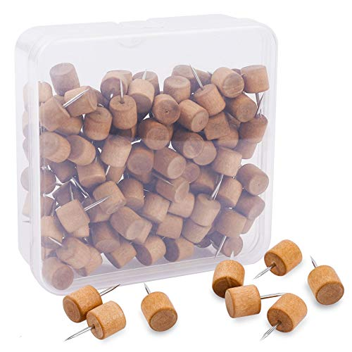 eZAKKA Wooden Push Pins,120 Pieces Wood Thumb Tacks Decorative for Bulletin Boards, Cork Boards, Foam Boards, Map Photos Calendar and Home Office Craft Projects with Box, Cylindrical