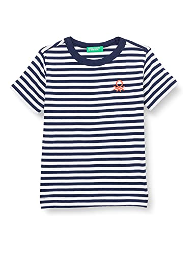 United Colors of Benetton T-Shirt 3NQ6C14JE Camiseta, Rayas Azules y Blancas 901, 2 Años para Bebés