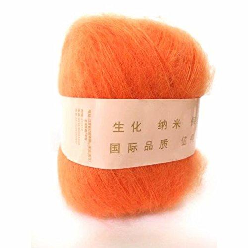 Artilin One Skein Soft&Warm Angola Mohair Cashmere Wool Knitting Yarn 50g,Orange