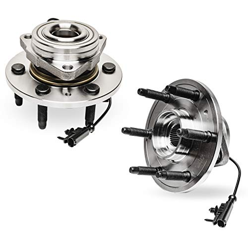 Detroit Axle - 4WD Front Wheel Bearing and Hub Assembly Replacement for 2007-2014 Chevrolet Suburban Tahoe Silverado GMC Yukon Sierra 1500 Cadillac Escalade - 2pc Set