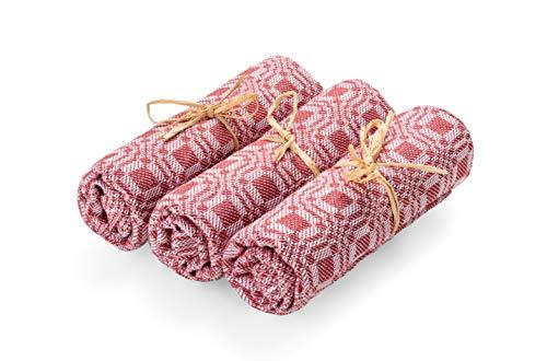 MANITA holz.liebe Juego de 3 paños de cocina de alta calidad, 50 x 60 cm, 100% algodón, absorbentes, paños de cocina, paños de cocina, paños de algodón hechos a mano en Austria, color rojo