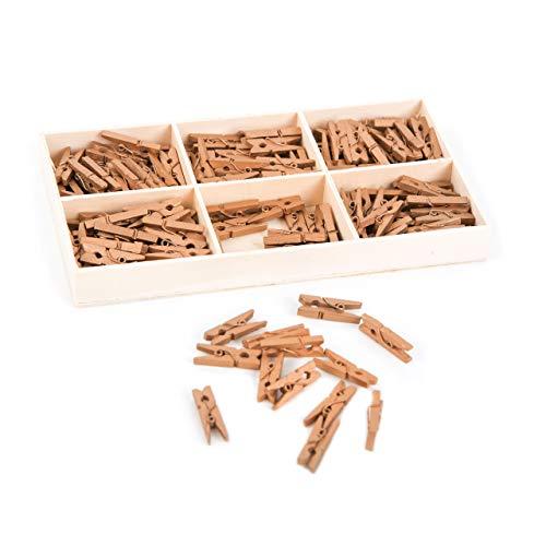 135 mini-klemmen, natuurhout, goud, mini-wasknijpers, 2,5 cm, decoratieve klemmen, mini-clips, houten wasknijpers met doos om te knutselen, decoreren als fotohouder voor het vastklimmen van decoratie op geschenken enz.