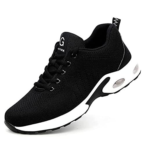 HOUJIA Zapatos de Seguridad con Puntera de Acero,antipinchazos y amortiguadoras para Hombre,Botas de Trabajo para...