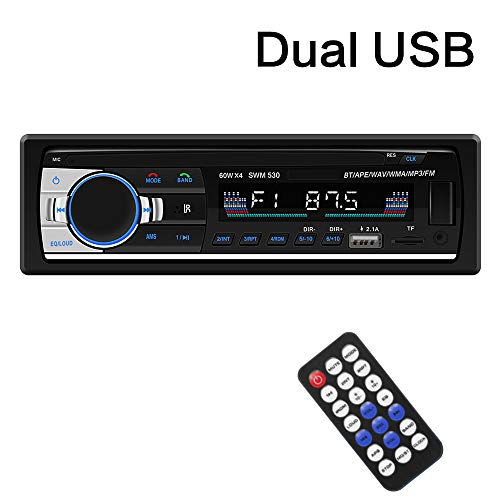SARCCH Multimedia Car Stereo – Single Din LCD, BT Audio and Calling, Built-in Microphone, MP3 Player, WMA, USB, Auxiliary Input, FM Radio Receiver, Wireless Remote Control