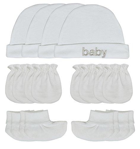 Songbai Baby Gift Set Caps Socks and Mittens for Newborn Boys Girls (Newborn, 4-Set/Pure White)