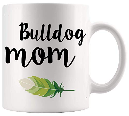 DKISEE Taza para mamá – Taza inglesa francesa americana Bulldog mamá regalos blancos tazas 325 ml