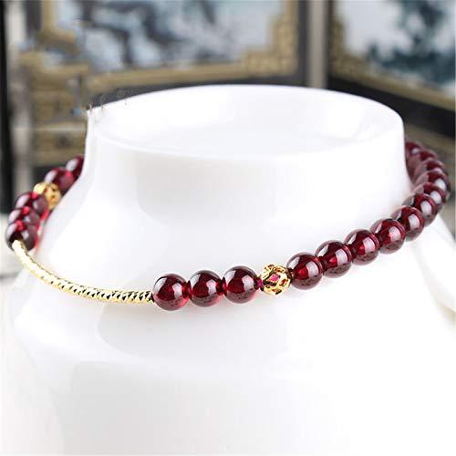 Feng Shui Reichtum Armband Granat Armband mit S925 reinen Silber Ornamente Rotwein 4,5 mm Perlen Heilung Chakra Kristall Glücksbringer Liebe Armreif Schmuck Geschenk für Frauen / Mädchen