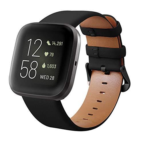 KADES Compatibile per Fitbit Versa Cinturino, Cinturino in Vera Pelle con Perno a sgancio rapido Compatibile per Fitbit Versa 2 Cinturino, per Fitbit Versa Lite Edition Cinturino, Nero