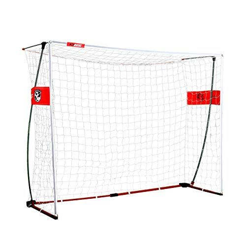 Rukket Portable Soccer Goal 6x4 or 8x6 ft, Bow Style Pop Up Goals for Kids and Adults, Backyard and Indoor Collapsible Net with Carry Bag (8x6ft Bow Style)