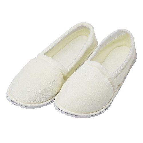 Easy USA Women's Terry Slip On House Slippers - Medium - White