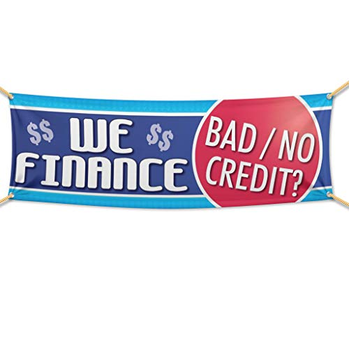 """VictoryStore Outdoor Banners - Auto Sales Banner -""""We Finance Bad Credit� 10 Ounces Vinyl Banner, with Grommets for Hanging Car Dealer Banner (2 feet by 6 feet)"""