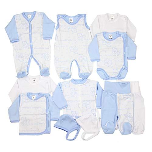 TupTam Unisex Baby Erstausstattung Bekleidungsset 11 teilig, Farbe: Blau/Weiß, Größe: 56