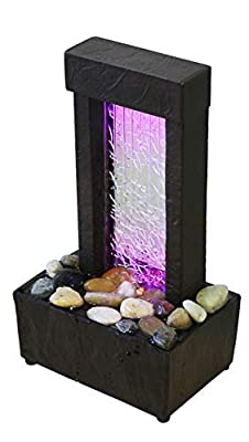 """Nature's Mark 10"""" H Crackled Glass Light Show Tabletop Water Fountain with Natural River Rocks and Color Changing LED Lights (Power Cord Attached)"""