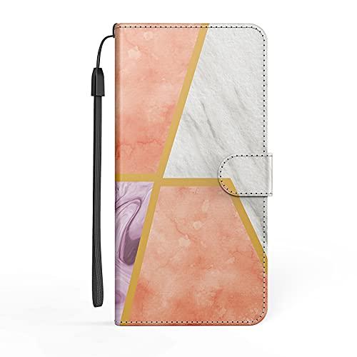 Carcasa para Samsung Galaxy A30S/A50S/A50 de mármol colorido, funda antigolpes, tapa plegable, función atril, funda de protección de poliuretano y poliuretano termoplástico, color rosa y blanco