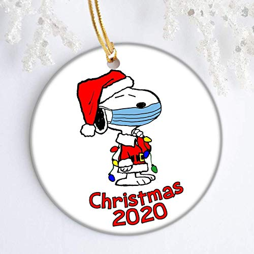 brainief Christmas Ornaments Snoopy with mask Charlie Brown Peanuts Christmas Tree Decoration Round Ceramic Ornament with Gift Box Xmas Present 3 inch