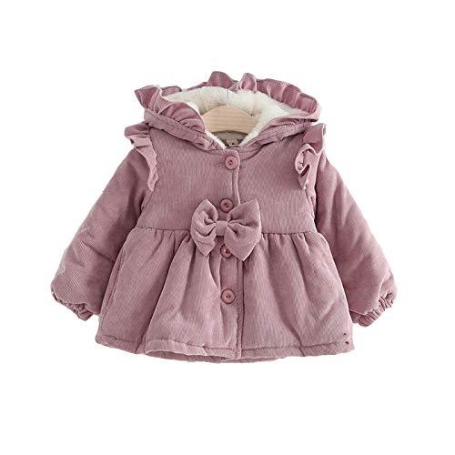 Ropa de Invierno para niñas bebés Abrigo con Capucha de Manga Larga Ropa de Abrigo de otoño de Terciopelo Grueso Ropa de recién Nacido (Pink,9-12 Meses)