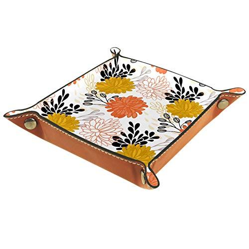 Bandeja de Valet Cuero para Hombres - Patrón de Flores Grandes Amarillo Naranja - Caja de Almacenamiento Escritorio o Aparador Organizador,Captura para Llaves,Teléfono,Billetera,Moneda