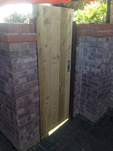 Puerta lateral de madera de lujo, resistente, totalmente enmarcada, tratada a presión, hecha a medida, parte superior plana (1,5 m de alto x 2,8 m de ancho)