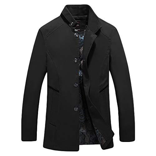 MAYOGO Herren warm Baumwolle Mäntel Jacke Männer Kurzmantel Winter Jacke Business Slim fit (Schwarz, L)